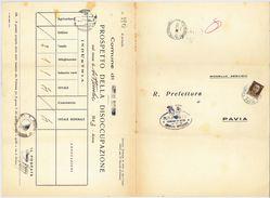 LETTERA R.PREFETTURA DI PAVIA 1943 PROSPETTO DELLA DISOCCUPAZIONE (RL132 - 1900-44 Victor Emmanuel III.