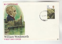 1970 Tidworth GB FDC WORDSWORTH Stamps  Cover Literature - FDC