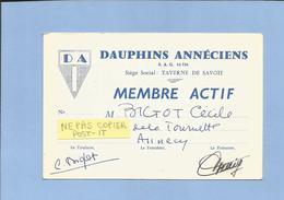 Carte De Membre Actif Annecy Dauphins Annéciens Taverne De Savoie Bigot Cécile 14 Quai De La Tournette 2 Scans 1959 - Andere