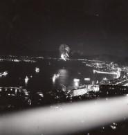 USA? Ville Non Identifiee Feu D'Artifice Bord De Mer Ou Fleuve? 3 Anciennes Photos Snapshot 1940