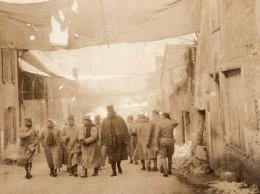 France WWI WW1 Village Rue Couverte De Toile Camouflage Ancienne Photo 1914-18