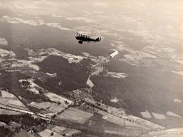 USA Aviation Militaire US Navy Biplan En Vol Saut En Parachute Ancienne Photo 1920's