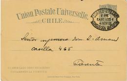 BR39 - CHILI EP CP OBL. CORREO URBANO CONDUCCION GRATUITA SANTIAGO 4/11/1893 - Chili