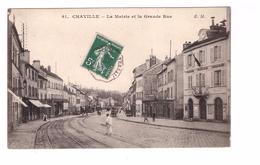 92 Chaville La Mairie Et La Grande Rue Cpa Animée Cachet 1909 - Chaville