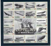 St Vincent - World War I, Zeppelins, 2015 - Sheetlet MNH - Militaria