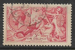 Great Britain, George V, 5/= Seahorses, 1919, Bradbury-Wilkinson Ptg, C.d.s Used 27 MY 26