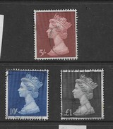 Great Britain, Elizabeth II,1969, Machin High Values,  5/=, 10/=, £1, Used