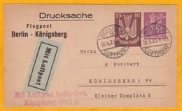 1923 - Carte Postale Entier PAR AVION De BERLIN Vers KONIGSBERG, Allemagne - Luftpost Flugpost - Drucksache - Deutschland