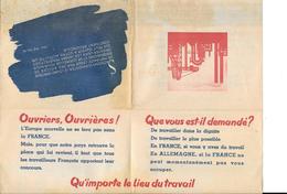 Propagande Des Service De La Main D'oeuvre Francaise En Allemagne Seconde Guerre Signé Pétain STO - Documents Historiques