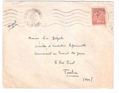 Lettre De Clermont Ferrand Avec IRIS 1 F 50 Brun N° 652 > Commissariat Au Travail Des Jeunes , Toulon 26.DEC 1944 , TB - 1939-44 Iris