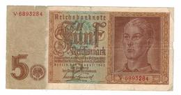Germany 5 Mk. 1942, Vg/F.  Free S/H To USA. - [ 4] 1933-1945: Derde Rijk