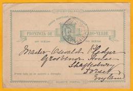 C. 1900 - Carte Postale  Entier De Sao Vicente, Cap Vert, Portugal Vers Shaftesbury, Angleterre, Grande Bretagne - Cap Vert