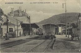"""983- Saint-Sulpice-Laurière -la Gare -ed. P.M. - En F. M.  """" Gare De St.....  Commission Militaire """" - France"""
