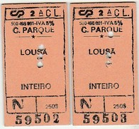 2 Tickets * Followed Numbers * CP * Comboios De Portugal - Trenes