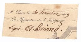 1909 Signature Aristide BRIAND Ministre De L'intérieur - Autographs
