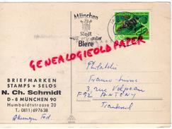 ALLEMAGNE- MUNCHEN- N.CH.SCHMIDT- BRIEFMARKEN STAMPS-SELOS- HUMBOLDTSTRASSE 20- 1965 - Allemagne