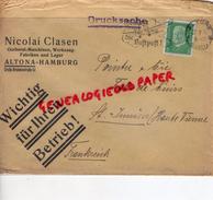 ALLEMAGNE- ALTONA-HAMBURG-NICOLAI CLASEN-DRUCKSACHE -A PIERRE POINTU MEGISSERIE SAINT JUNIEN-1917 GANTERIE-LUFTPOST - 1900 – 1949