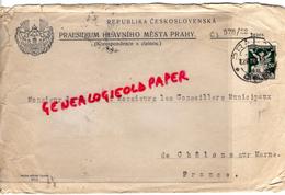 REPUBLIKA CESKOSLOVENSKA- PRAESIDIUM HLAVNIHO MESTA PRAHY- M. LE MAIRE CHALONS SUR MARNE 1922 - Factures & Documents Commerciaux