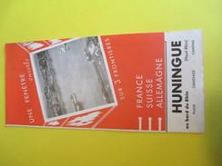 HUNINGUE/Plage Canotage Camping/ Haut Rhin / Au Bord Du Rhin /France /Carburant OZO/  Vers 1950     DT4 - Dépliants Touristiques