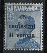 PIA - ITALIA - TRENTO E TRIESTE : 1919 : Francobollo D'Italia Sovrastampato In Centesimi Di Corona  - (SAS 6) - Occupation 1ère Guerre Mondiale