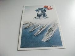 Nave Ship GUERRA DALLA PORAEREI E ALTRE 4 NAVI CHE HANNO PORTATO IL NOME GARIBALDI ILLUSTRATORE VEDI FIRMA - Guerra