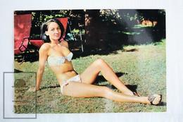 1960's Vintage Photo Postcard Pin Up Model - White Bathing Suit Monica Clark - Pin-Ups