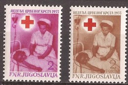 1953  11  ROT KREUZ BLUTUEBERTRAGUNG BLOOD TRANSFUSION  ERSTE HILFE SCHWESTER MIT KIND INFERMIERA  MNH