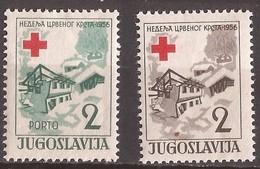 1956  16  ROT KREUZ JUGOSLAVIJA JUGOSLAWIEN   ERSTE HILFE DURCH LAWINE ZERSTOERTE HAESER SNOWSLIDE  MNH