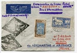 !!! 1ER VOYAGE AEROMARITIME COTE OCC D´AFRIQUE - LETTRE D´ABIDJAN POUR LA FRANCE - Postmark Collection (Covers)