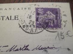 Sur CPA Pub Marseille Svon Frères 40c Violet Semeuse Perforé 1923 - France