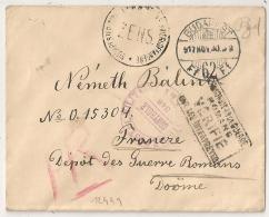 BUDAPEST Hungary. CONTROLE POSTAL MILITAIRE 348.  Prisonniers De Guerre ROMANS Drome. - Marcophilie (Lettres)