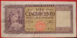 500 Lire 9.2.1948 (WPM 80a) - [ 1] …-1946 : Koninkrijk