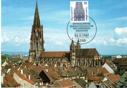 """BRD Maximumkarte Freimarken Sehenswürdigkeiten """"Turm Des Freiburger Münsters"""" Mi 1340A ESSt 6.11.1987 BONN 1 - Cartas Máxima"""