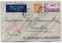 !!! 1ER VOYAGE AEROMARITIME COTE OCC D´AFRIQUE - LETTRE DE FRANCE POUR CONAKRY 1937 - Postmark Collection (Covers)