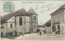 Essonne : Chilly Mazarin, Place De L'Eglise, Animée - Chilly Mazarin