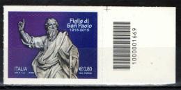 ITALIA - 2015 - ISTITUTO PIA SOCIETA' FIGLIE DI SAN PAOLO , CENTENARIO DELLA FONDAZIONE - CODICE A BARRE DX - Bar Codes