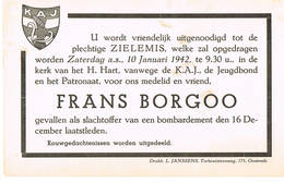 Uitnodiging K.A.J Frans Borgoo Slachtoffer Bombardement Oostende 16/12/42 - 1939-45