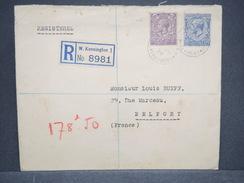 GRANDE BRETAGNE - Enveloppe En Recommandé De Kensington Pour Belfort En 1934 , Affranchissement Bicolore - L 6348 - Marcofilie