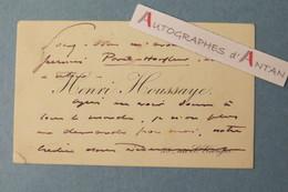 CDV Autographe Henri HOUSSAYE Ancien Directeur HAVAS- Trajet Paris Honfleur - Lebey - Carte De Visite - L.A.S - Autographes