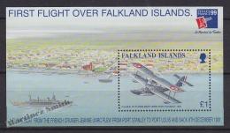 Falkland Islands 1999 Yvert BF 19, Philexfrance '99, First Flight Over The Islands - Miniature Sheet - MNH - Islas Malvinas