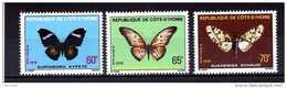 """COTE  IVOIRE  1979   MNH  -  """" PAPILLONS / BUTTERFLIES """"  -  3  VAL - Papillons"""