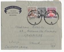MALAYA - SELANGOR - 1955 - AEROGRAMME De KUALA LUMPUR => LAUSANNE (SUISSE) - TRICOLORE - Selangor