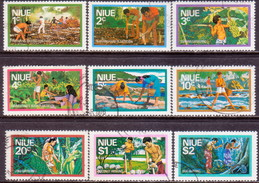 NIUE 1976 SG 198//207 Part Set Missing Only 50c Used Food Gathering