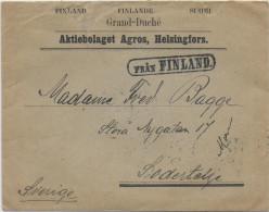 FINLANDE / SUEDE - 1903 - ENVELOPPE De HELSINGFORS Avec BANDE De 5 TIMBRES RUSSES OBLITERES à STOCKHOLM !!! - Storia Postale