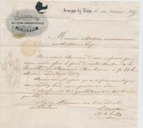 050/25 - BELGIUM - Lettre à Entete Charbonnages Des Grands Romarins-Kessales à, JEMEPPE 1857 - TP Médaillon JEMEPPE - Minéraux