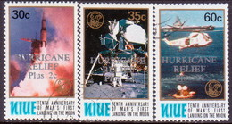 NIUE 1980 SG 324-26 Used Optd Hurricane Relief Plus 2c (25th Anniv First Moon Landing)