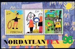 1996,  Färöer, 300/02 Block 8, Briefmarkenausstellung NORDATLANTEX '96, Torshavn: Kinderzeichnungen.  MNH ** - Féroé (Iles)