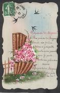 CPA FANTAISIE CELLULOID - DENTELEE - Peinte à La Main - Seigneur - Prière - Oiseau Hirondelle Corbeille Fleurs -#479 - Autres