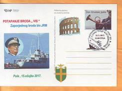 "Croatia 2017 Y Postcard Overprint Sinking Of Command Ship ""VIS"" Postmark Pula 15.03. - Croatia"