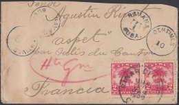 1905-H-80 CUBA REPUBLICA. 1905. POSTAGE DUE COVER TO FRANCE FRANCIA. CORTADO BORDE SUPERIOR. - Lettres & Documents